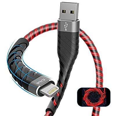 iPhone Charger, iCrius [Apple MFi Certified] 6Ft Led Light Up Lightning Cable USB Fast Charger Syncing Cord Compatible with iPhone 11 Pro Max XS XR X 8 7 6 Plus SE iPad(Red)