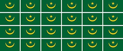 Mini Aufkleber Set - Pack glatt - 33x20mm - Sticker - Mauretanien - Flagge - Banner - Standarte fürs Auto, Büro, zu Hause & die Schule - 24 Stück