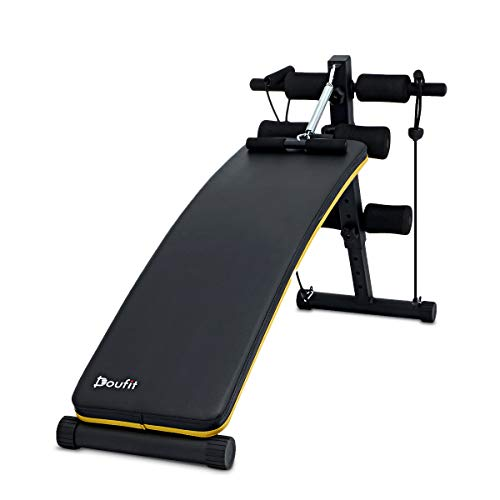 Doufit Adjustable Sit Up Bench for Workout, WB-03 Abs Multi-Function Training Bench for Home Gym, Abdominal Workout Bench with 3 Adjustable Height Settings