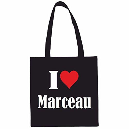 Reifen-Markt Tasche I Love Marceau Größe 38x42 Farbe Schwarz Druck Weiss