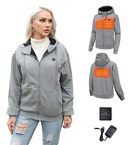 Heated Hoodie with Battery Pack, Winter Apparel for Women Grey M