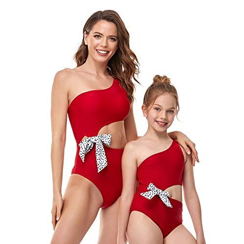 XUANYA Bañador De Mujer,Verano Mamá E Hija Traje De Baño Rojo Niñas Sexy Elegante Traje De Baño Mujer Playa Usar Traje De Baño De Moda para Niña 3-12 Años Regalo Creativo