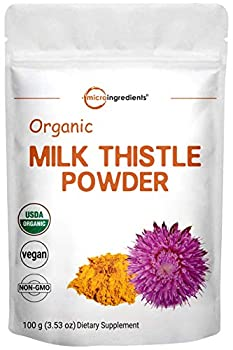 Maximum Strength Organic Milk Thistle Extract 3.5 Ounces 100 Grams Pure Milk Thistle Powder Organic Contains 80% Active Silymarin Strongly Supports Liver Health and Antioxidant Vegan Friendly