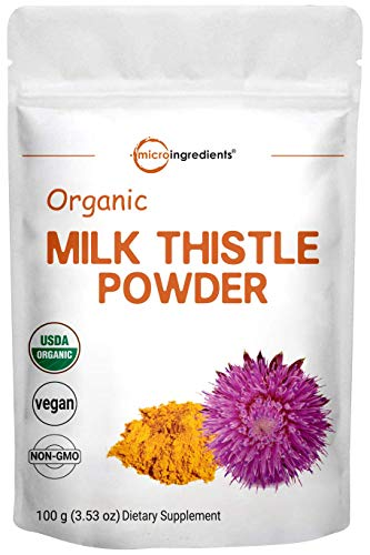 Maximum Strength Organic Milk Thistle Extract, 3.5 Ounces (100 Grams), Pure Milk Thistle Powder Organic, Contains 80% Active Silymarin, Strongly Supports Liver Health and Antioxidant, Vegan Friendly