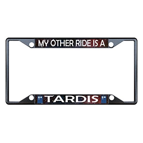 Sign Destination Metal License Plate Frame 4 Holes My Other Ride is A Tardis Car Auto Tag Holder Black One Frame