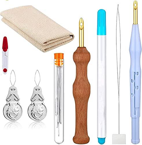 Sweetone Bordado Kits,17 piezas Kit de bordado de aguja de perforación Magic Embroidery Pen Set de aguja de perforación manualidades Labor de aguja Set de aguja de perforación