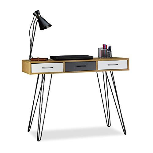 Relaxdays, 75 x 100 x 50 cm, Marrón-Blanco-Gris Escritorio de diseño, Tres cajones, Moderno, Mesa de PC, DM-Hierro