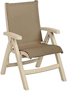 Grosfillex US355066 Stackable Belize Midback Folding Chair, Sandstone Frame & Taupe Seat (Case of 2)