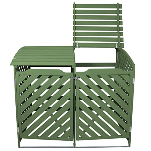 Double Sage Green Wheelie Bin Storage Shed Dustbin Store Garden Latched Lockable Outdoor Cover Unit Chain Lid