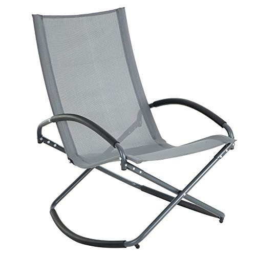 SONGMICS sonneninsel Relaxliege Liegestuhl relaxsessel Sonnenliege gartenliege Gartenstuhl Schaukelstuhl Schaukelsessel Eisengestell, bis 150 kg belastbar, schwarz GCB28GY