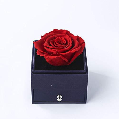 Rosa Eterna Roja en Caja joyería - Flores San Valentín - Flores preservadas Pedida de Mano, Bodas de Oro, Aniversario Pareja, Pedida de Matrimonio