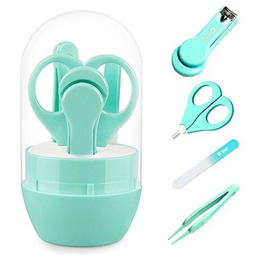 Beauty360 Babypflege Set 4 IN 1 Babypflege Set mit Baby Nagelschere, Baby Nagelknipser, Glasnagelfeile und Nasenpinzette Sicher und Präzise - in Sicherheitsbox (Blue)