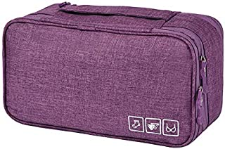 Rainbow-Lee Travel Bra Underwaer Organizer Compact Lingerie Box Fornight Toiletry Bag (Purple)