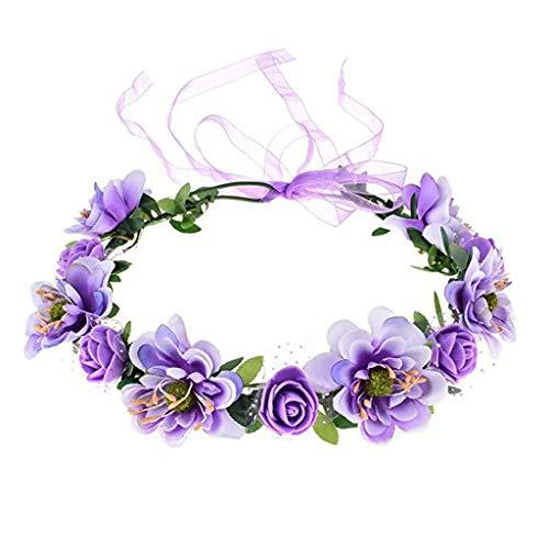 Chiic - Diadema de Flores Rosas a Mano, con Guirnalda de Flores y Coro