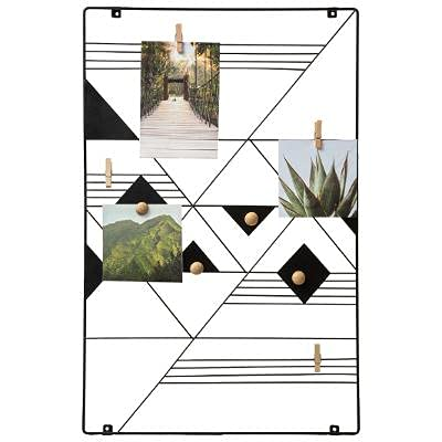 Support mural haut de gamme avec pinces à linge et boules en bois magnétiques pour fixer les photos - Grand format 55 x 35 cm - Support mural pour carte, cadre photo, tableau mémo, grillage