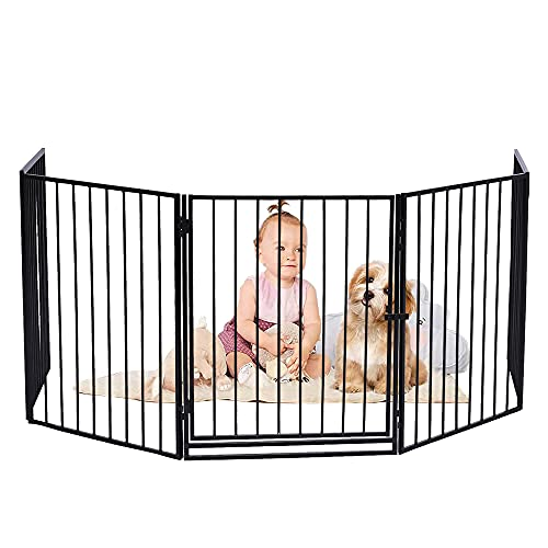 122-Inch Safety Baby Gate Extra Wide Tall Pet Gates for Stairs Dogs Doorways with Door 5 Panels Foladble Adjustable Child Gate Indoor Fireplace Fence Gate Easy to Assemble Black