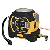 CO-Z Laser Tape Measure, Digital Metric Measurement 16ft Tape Measure 131ft Laser Measure and 33ft Cross Line, Retractable Magnetic Tape Construction Tool for Measuring Distance Area Volume (Yellow)