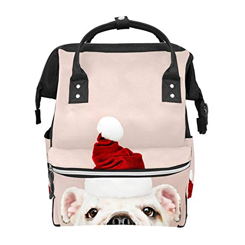 Cute Bulldog Puppy Animal Diaper Backpack Bags Multifunction Backpack for Mom Girl Women School Travel Hiking Bag Laptop Baby Bag