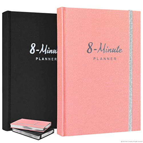 8 Minute Planner by Abra Company   Tested and Proven to Increase Productivity and Happiness   Undated A5 Daily Planner with Inspirational Quotes   Gratitude Journal – Goal Planner (Coral/Silver Edge)