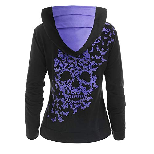 Dosoop Womens Button Collar Sweatshirt Skull Print Hoodies Long Sleeve Pullover Sweater Hooded Tops with Pockets