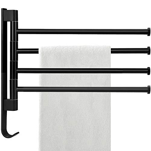 Handtuchhalter Drehbarer 180°, Handtuchstange 4 Arme, Ohne Bohren Badetuchhalter für Hause Büro Shop Restaurant (4,Schwarz)