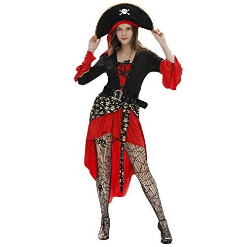 GBYAY Disfraz de Pirata caribeño para Mujer con cinturón de Sombrero Vestidos Estampados de Halloween Cosplay Vestido de Mujer Halloween Femme