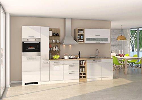 Held Möbel 584.1.6210 Mailand Küche, Holzwerkstoff, hochglanz weiß, 60 x 340 x 200 cm