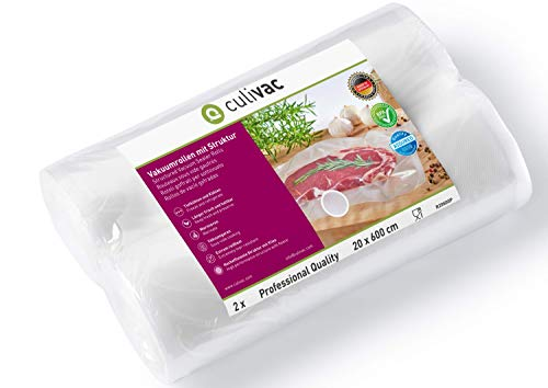 culivac Rollos de plástico para envasar al vacío Professional de 20 x 600 cm, 2 Rollos (R20600P)
