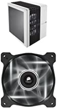 Corsair Carbide Series Air 540 Windowed ATX High Airflow Cube Performance Computer Case with White LED Fan - Arctic White and Corsair Air Series AF120 LED Quiet Edition High Airflow Fan Single Pack - White
