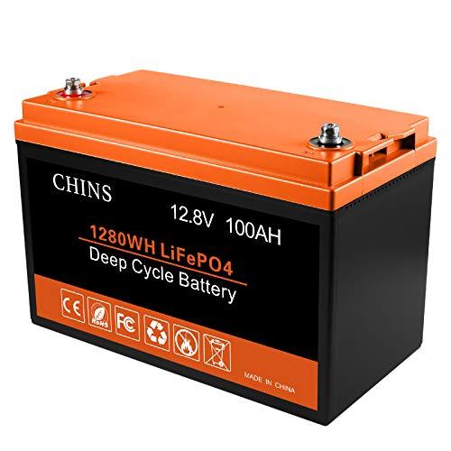 100 Ah 12 V Lithium-Batterie, eingebauter 105 A BMS, 2000 + Zyklen, jeder Akku kann 1280 W Ausgangsleistung unterstützen, perfekt für Wohnmobil, Wohnwagen, Solar, Marine, Zuhause und netzunabhängige Lagerung.