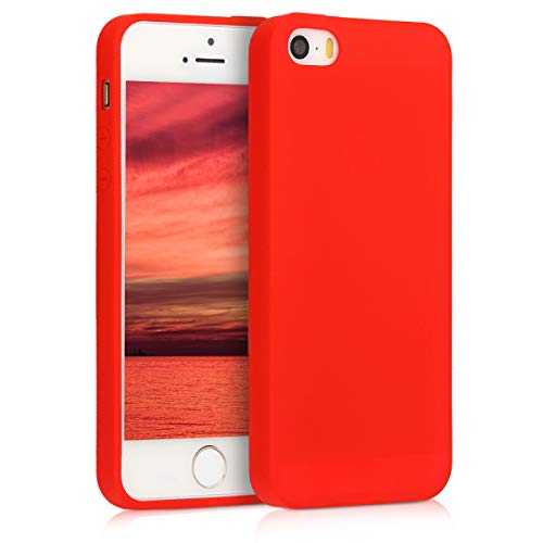 kwmobile Cover compatibile con Apple iPhone SE (1.Gen 2016) / 5 / 5S - Custodia in silicone TPU - Backcover protezione posteriore- rosso fluo