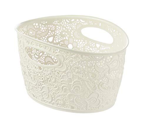 Curver Korb, Fassungsvermögen 7Liter, Spitzeneffekt, Vintage-Stil, Weiß