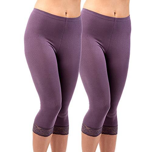 HERMKO 5722 2er Pack Damen 3/4-Leggings mit Spitze, Größe:52/54 (XXL), Farbe:Pflaume