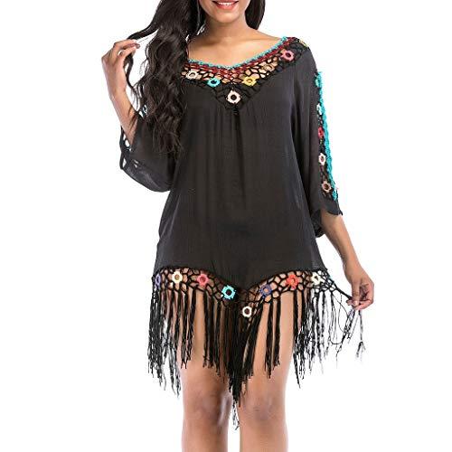 Luckycat Traje de baño de Playa Cubrir Crochet Vestido de Playa Abrigo de baño Vestido de Playa con Borla