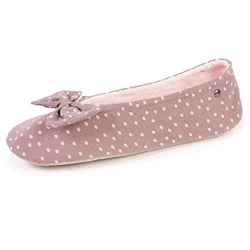 Isotoner - Zapatillas de bailarinas para mujer, diseño de lunares, Beige (marrón), 37/38 EU