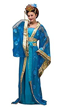 CRB Fashion Womens Ladies Stunning Asian Oriental Chinese Dynasty Ming Qin Han Xia Dress Costume with Head Accessories  Aqua