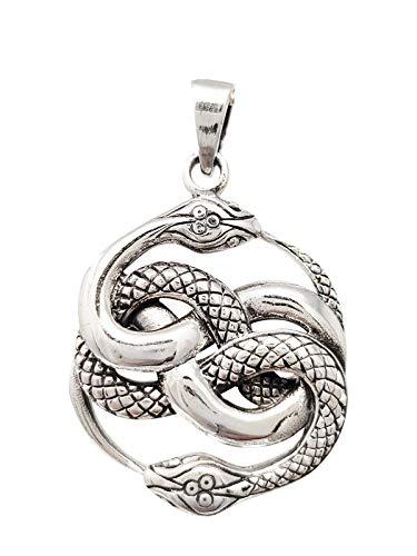 TreasureBay Collar con colgante de serpientes de plata de ley 925 para hombre con cadena de plata