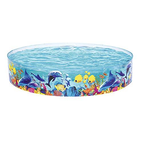 BZZBZZ PVC-Schwimmbad Cartoon-Muster Hartgummi Kinder-Planschbecken für den Innen- und Außengarten Nicht aufblasbar - 96 x 18 Zoll