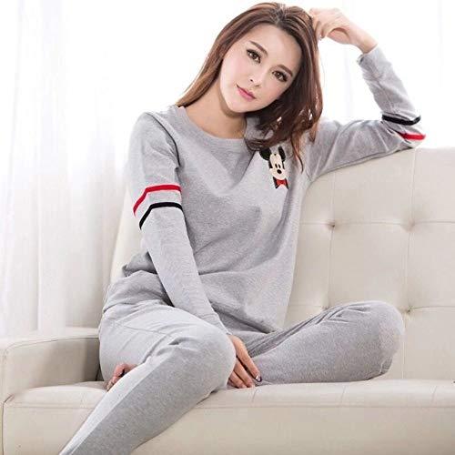 JFCDB Nachthemd Lente zomer vrouwen pyjama dunne katoenen pyjama met lange mouwen set student trainingspak tops vrouwelijke pyjama sets nachtpak nachtkleding, 2duanmiqi hui, xl
