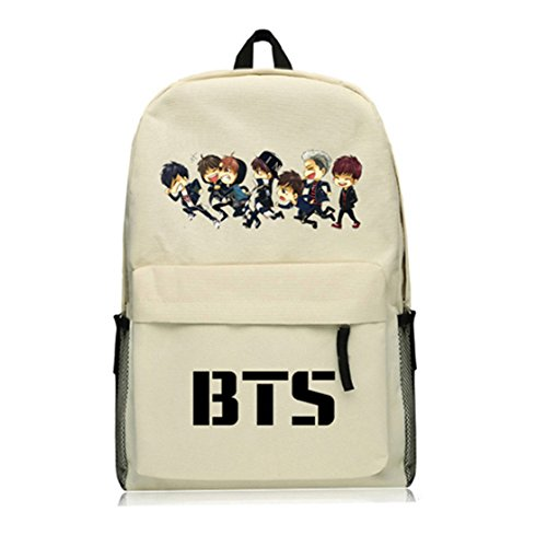 AUGYUESS KPOP Bangtan Boys BTS Schultasche Daypack Schultertasche Bookbag Rucksack (Beige 3)