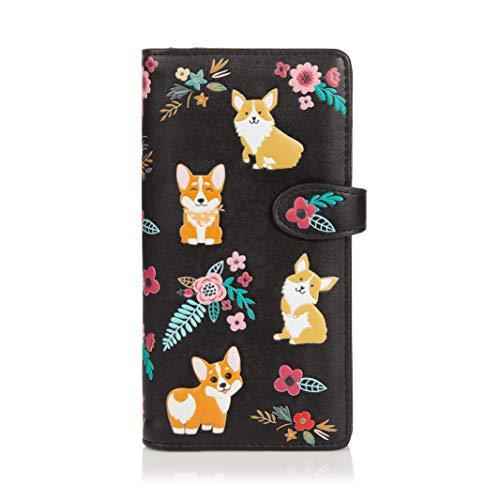 SHAGWEAR ® Portemonnaie Geldbörse Damen Geldbeutel Mädchen Bifold Mehrfarbig Portmonee Designs: (Corgi)