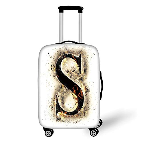 Travel Luggage Cover Suitcase Protector,Letter S,Fire Letter Uppercase S with Fiery Hot Flames Charred Symbol and Background,Tan Black Orange,for TravelXL 29.9x39.7Inch