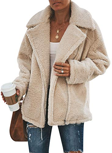 WOZNLOYE Mujer Abrigos Pelaje Artificial Chaquetas Solapa Manga Larga Coat Cremallera Tops Jerséis Moda Color Sólido Cárdigans Otoño Invierno Suéter (L, Albaricoque)