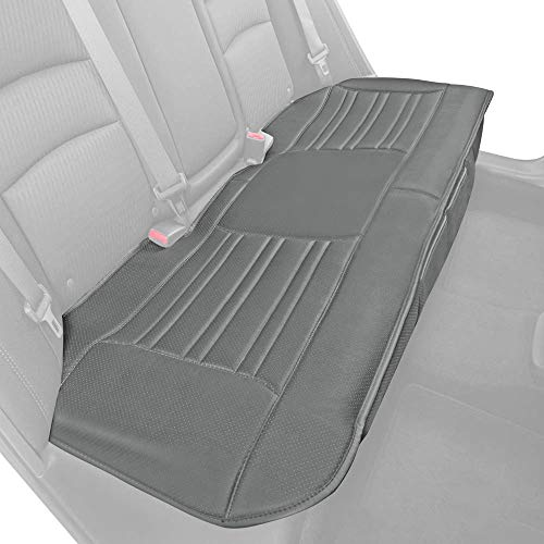 Motor Trend Gray Universal Car Seat Cushion, Rear Bench Seat – Padded Luxury Cover with Non-Slip Bottom & Storage Pockets, Faux Leather Cushion Cover for Car Truck Van and SUV