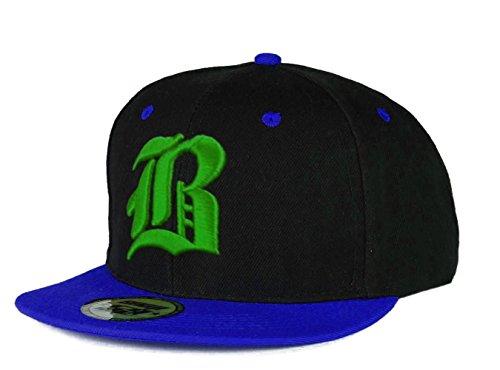 Casquette de Baseball SnapBack Bonnet Cap Chapeau Snap back 3D Gothique B Hip-Hop (B Blue Green)
