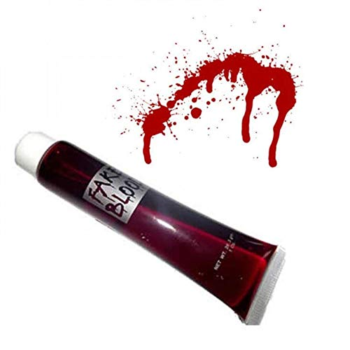 SHATCHI SHATCHI-1452 Fake Blood Halloween Costume Fancy Accessory Makeup Dress Up Vampire Zombie Make Up Face Paint Theatrical Fun, Red