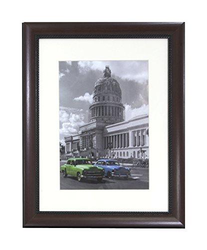 BD ART 30 x 40 cm, Marco de Fotos de Estilo clásico de Madera Solida con Paspartu 21 x 30 cm, Color Caoba