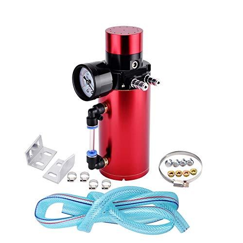 Super1Six El Tanque de Aluminio de la Captura de aletreo de Aluminio Universal, el Tanque de Ventilador, Puede con el Tanque de Captura de Aceite de medidor de presión de vacío. (Color : Red)