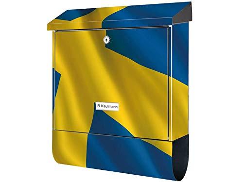 KlebeSpatz® Motiv Bild Briefkasten XXL Premiumline mit Zeitungsrolle Flagge Schweden mit Zeitungsrolle Zeitungsbox A4 Einwurf Rostfreier Stahl