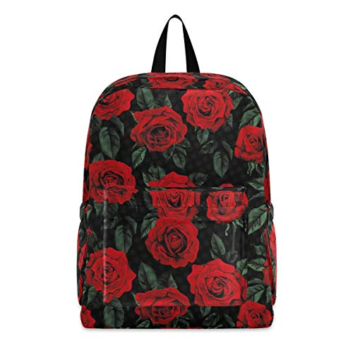 Floral Red Flowers Rose Fashion School Backpack Lightweight Travel Laptop College Bookbag